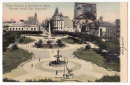 AMERICA ARGENTINA BUENOS AIRES VICTORY SQUARE AND MAYO AVENUE OLD POSTCARD 1907. - Argentina