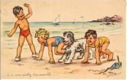 Bouret Germaine Signe Artist, Illustrateur. Chien  Enfants  Old Postcard. Cpa 1938 - Bouret, Germaine