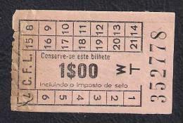 TICKET BILHETE DE AUTOCARRO COMPANHIA CARRIS DE FERRO DE LISBOA PORTUGAL C.F.L. - Autres