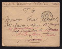 Cachet Recette Rurale SAINT PLANTAIRE - INDRE / Lettre F.M. 28.04.1916 Pour NYONS - Marcophilie (Lettres)