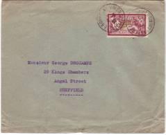 Timbre 121 Merson Seul Sur Lettre De Boulogne Sur Mer à Sheffield Du 6/8/1925 - Francia