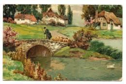 Gravure Paysage Pastoral Rivière Pont Et Troupeau De Moutons - Carte Texturée écrite & Timbrée 1926 - Nouvel An