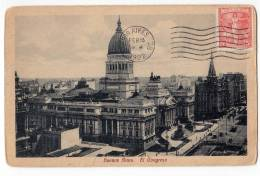 AMERICA ARGENTINA BUENOS AIRES THE CONGRESS BUILDING OLD POSTCARD 1922. - Argentina