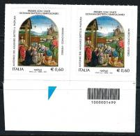 ITALIA  2012 - NATALE - Presepe - Il Pastura - Con CODICE A BARRE - Serie Compl. - Coppia Dx (°) - Códigos De Barras