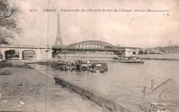 75 PARIS PASSERELLE DU CHEMIN DE FER DE L'OUEST PASSY MOULINEAUX  CIRCULEE 1907 - Transporte Público