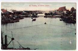 AMERICA ARGENTINA BUENOS AIRES THE PORT AND BOATS OLD POSTCARD - Argentina