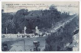 AMERICA ARGENTINA BUENOS AIRES THE BOTANICAL GARDEN AND SANTA FE STREET OLD POSTCARD 1928. - Argentina