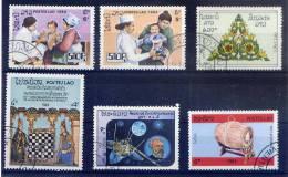 LAOS--1984--Lot De 12 Timbres (infirmière,sports JO,échecs,travaux,judo,tableau....)------------------------------------ - Laos