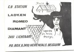 LICHTAART-C.B STATION-LADY. EN ROMEO DIAMANT-Q.S.L-KAART-ZIE 2 SCANS - Kasterlee