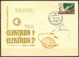 Space. USSR 1964. Start  Elektron 1 & Elektron 2.  Cover With Special Cachet, Tartu.  Signed By Cosmonaut German Tit - Lettres & Documents