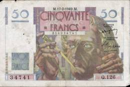 TB BILLET DE 50 FRANCS LE VERRIER DATE DU 17.02.1949 - 1871-1952 Anciens Francs Circulés Au XXème