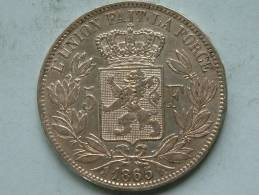 1865 FR - 5 FRANCS ( XF ) KM 24 ( Morin 152 - For Grade / Please See Photo ) ! - 1831-1865: Léopold I