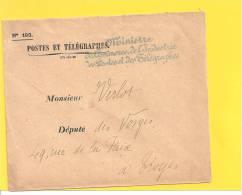Lettre Franchise Griffe MINISTRE DU COMMERCE DE L'INDUSTRIE DES POSTES ET TELEGRAPHES - Storia Postale