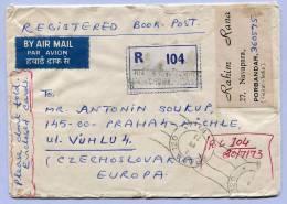 Registerd Air Mail Letter Indien India To Praha 1973 (558) - Briefe U. Dokumente