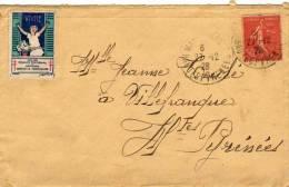 "Timbre Tuberculose ""Vivre"" 1926 - 29 - Semeuse Orange 50 C - France"