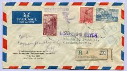 Registerd Air Mail Letter Indien India CALCUTTA To Praha 1949 (560) - 1947-49 Dominion