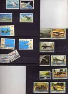 Lot Avions , élicoptères Etc.. 2 Timbres Sont Collés Au Suppoert - Les Suppots Sont Compris Sauf Si Port Trop Chère - Aerei