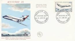Enveloppe 1er Jour Du 12 Juin 1965 - Avion D'affaire Mystere 20 - Avions