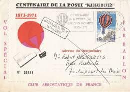 Enveloppe 1er Jour Du 28 Janvier 1971 : Centenaire De La Poste Par Ballons Montés - Betz (60 ) - Transports