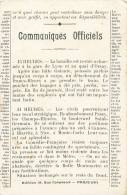 COMMUNIQUES OFFICIELS LA MANIFESTATON DE PARIS GARE DE LYON QUAI D'ORSAY JOURNAL PRESSE EVENEMTN POLITIQUE - Manifestations