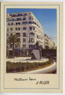 """Alg�rie--ALGER--petite carte """"Meilleurs Voeux d'ALGER""""--Immeuble OFALAC--Monument sculpture"""