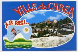 """Alg�rie--CHREA--Vue g�n�rale et carte fantaisie""""A 2 pas""""  (dessin skieur et soleil) cpm n�09.06 �d Bakhti"""