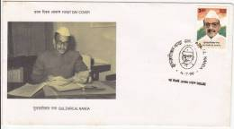 India 1999 FDC, Gulzarilal Nanda, Freedom Fighter - FDC