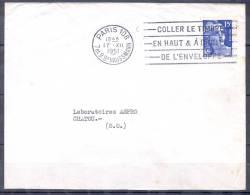 PARIS  108    Le  17  XII 1951   FLIER Timbre   Mne DE GANDON  COLLER LE TIMBRE - Mechanical Postmarks (Advertisement)