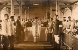 Militaria Militaire Carte Photo Gefangenenlager OHRDRUF Camp Prisonniers Curé Messe Croix Rouge 1915 9 ème Régiment - Personnages