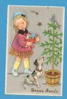 Bonne Année   Petite Fille Avec Chien Devant Un Sapin - Neujahr