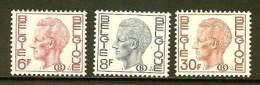 BELGIUM 1978 MNH Stamp(s) Baudouin 6F, 8F, 30F 79-81 (B) - Officials