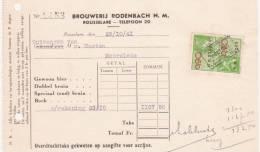 """Ancien Document Brasserie """"Rodenbach"""" Rousselare 1941 - Bélgica"""