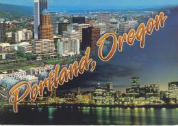 Beautiful View Of Portland, OR; Skyline In The Day And At Night Willamette River - Portland