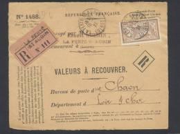 RECOUVREMENT / VALEURS A RECOUVRER Devant Env 1488 Tarif 50 C Tarif 01/04/1920 - Marcophilie (Lettres)