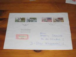 Brief Cover DDR Deutschland Satzbrief Einschreiben Dresden - Wuppertal  1990 500 Jahre Postwesen - Storia Postale