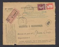 RECOUVREMENT / VALEURS A RECOUVRER Devant Env 1488 Tarif 65 C Tarif 25/03/1924 - Marcophilie (Lettres)
