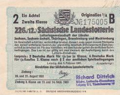 SACHSISCHE LANDESLOTTERIE  -  1951 - Lotterielose