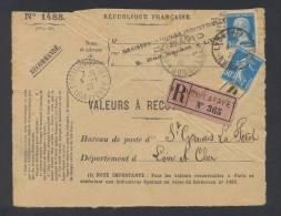 RECOUVREMENT / VALEURS A RECOUVRER Devant Env 1488 Tarif 80 C Tarif 16/07/1925 - Marcophilie (Lettres)