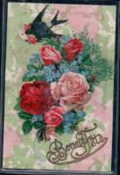 Bonne Fête, Hirondelle Et Fleurs, Litho Gaufrée à Système (2530) - Verjaardag