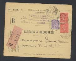 RECOUVREMENT / VALEURS A RECOUVRER Devant Env 1488 Tarif 1,10 Fr Tarif 09/08/1926 - Storia Postale