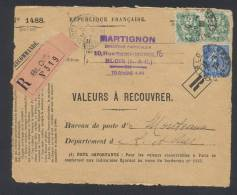 RECOUVREMENT / VALEURS A RECOUVRER Devant Env 1488 Tarif 1,10 Fr Tarif 09/08/1926 - 1921-1960: Modern Period