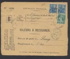 RECOUVREMENT / VALEURS A RECOUVRER Devant Env 1488 Tarif 1,10 Fr Tarif 09/08/1926 - 1921-1960: Moderne