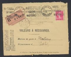 RECOUVREMENT / VALEURS A RECOUVRER Devant Env 1488 Tarif 1,10 Fr Tarif 09/08/1926 - Marcophilie (Lettres)