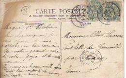 Sur CPA - OBLITERATION GENCAIS  Et CIVRAY Dans La Vienne - Cachet Avec LETTRE V Entouré Dans Un Cercle En 1904 - - Marcophilie (Lettres)