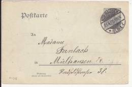 A128 - MULHAUSEN - 1905 - MULHOUSE Haut Rhin - Entier Postal Tarif Local - Marcophilie (Lettres)