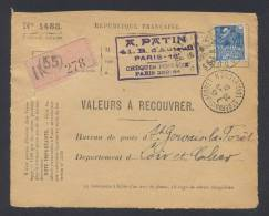 RECOUVREMENT / VALEURS A RECOUVRER Devant Env 1488 Tarif 1,50 Fr Tarif 21/04/1930 - 1921-1960: Période Moderne