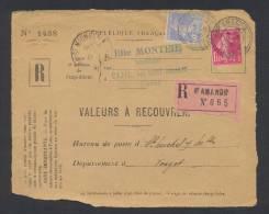 RECOUVREMENT / VALEURS A RECOUVRER Devant Env 1488 Tarif 1,50 Fr Tarif 21/04/1930 - Postmark Collection (Covers)