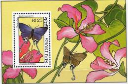 MALDIVES Papillons  (BF Emis En 1993) DENTELE Neuf Sans Charniere. ** MNH   (1) - Mariposas