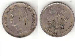 Belgium Congo 50 Centimes 1923 French Km 22 Vf - Congo (Belge) & Ruanda-Urundi