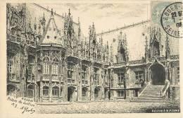 ROUEN DESSIN A LA PLUME DE A. GOULON PALAIS DE JUSTICE 76 - Rouen